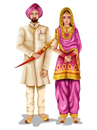 Punjabi-huwelijkspaar in traditioneel kostuum van Punjab, India
