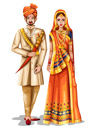 easy to edit vector illustration of Rajasthani wedding couple in traditional costume of Rajasthan, India