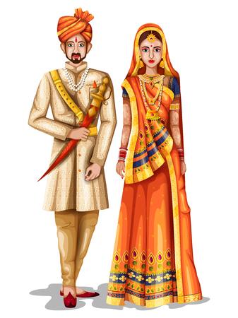 Facile à modifier l'illustration vectorielle du couple de mariage du Rajasthan en costume traditionnel du Rajasthan, Inde Banque d'images - 94035800