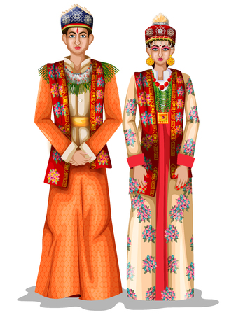 Sikkimese wedding couple in traditional costume of Sikkim, India