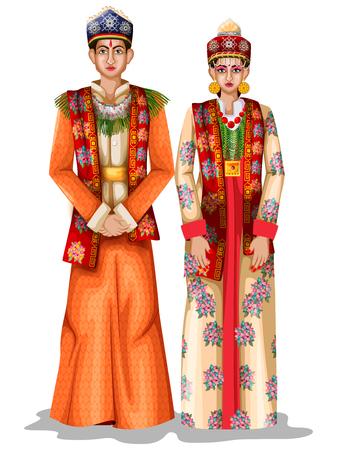 Casal de noivos Sikkimese em traje tradicional de Sikkim, Índia