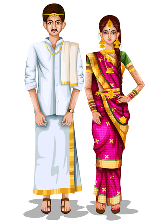 Tamil wedding couple in traditional costume of Tamil Nadu, India Stock Vector - 94035213