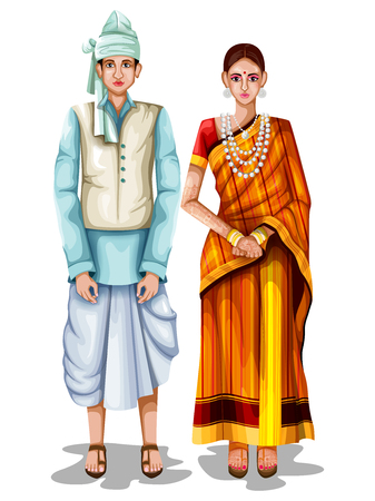 easy to edit vector illustration of Tripuri wedding couple in traditional costume of Tripura, India Vectores