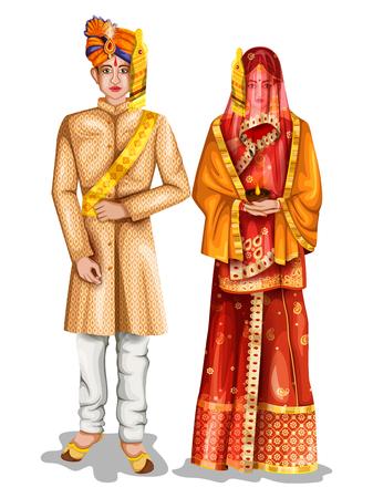 ウッタルプラデシュ、インドの伝統的な衣装でウッタルプラデシの結婚式のカップルのベクトルイラストを編集するのは簡単