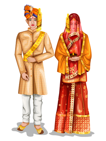 easy to edit vector illustration of Uttarpradeshi wedding couple in traditional costume of Uttar Pradesh, India Stock Vector - 94035801