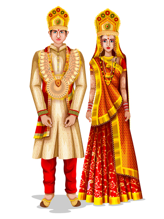 Uttaranchali wedding couple in traditional costume of Uttaranchal, India Vectores