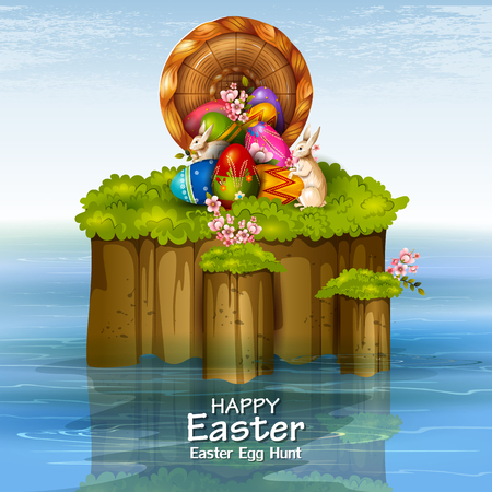 Happy Easter greeting background Illustration