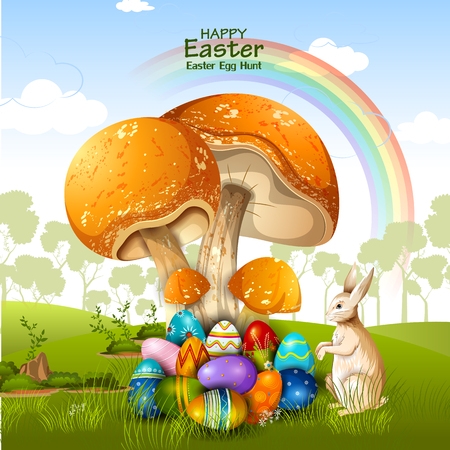 easy to edit vector illustration of colorful painted egg Happy Easter greeting background Illustration