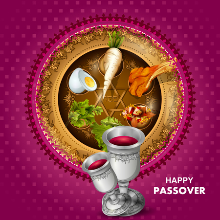 Jewish holiday of Passover Pesach Seder illustration. Stock Vector - 95180341
