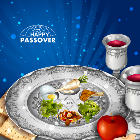 Jewish holiday of Passover Pesach Seder illustration.