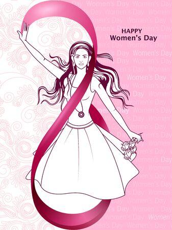 Beautiful woman for Happy International Womens Day greetings Background Foto de archivo - 95997085