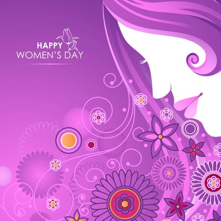 Beautiful Woman with flower for Happy International Womens Day greetings Background
