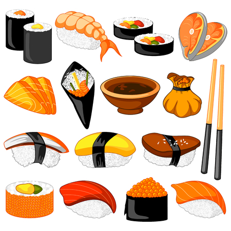 Different variety of Sushi Oriental food