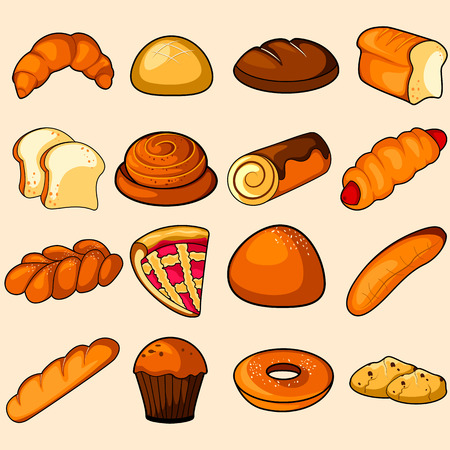 Bread and Bakery product vector illustration Illustration