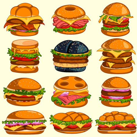Different variety of delicious burgers.