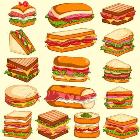 Different variety of fresh and tasty Sandwiches and Burgers