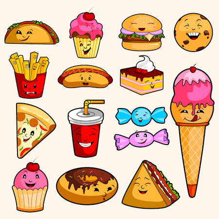 Different variety of Fast Food object Stock Illustratie