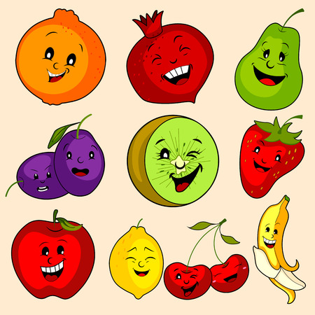 Different variety of fresh Fruit on isolated background