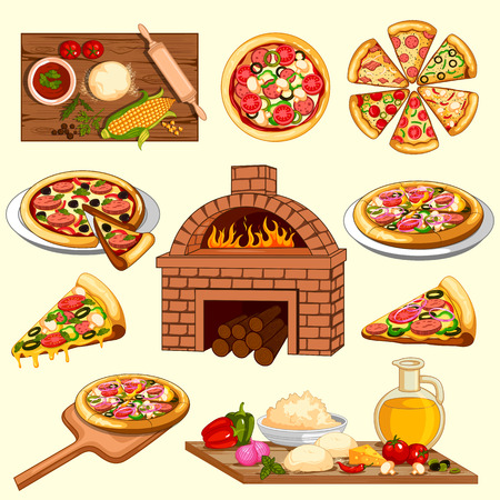 Pizza making and ingredient with baking oven 免版税图像 - 97554983