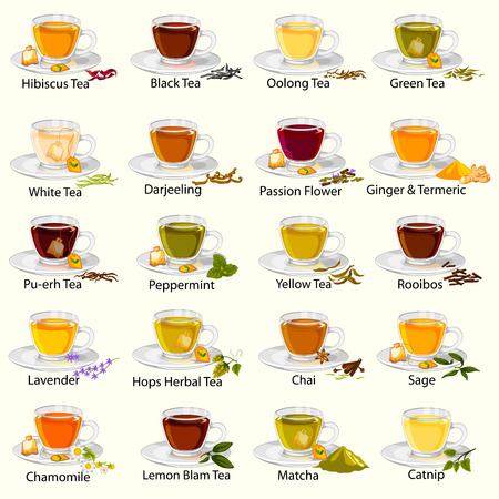 Different variety of herbal and medicinal Tea