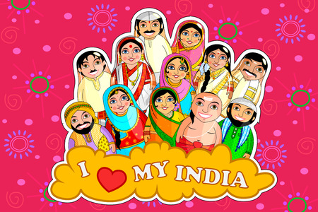 Indian couples colorful illustration representing diverse culture from different states.