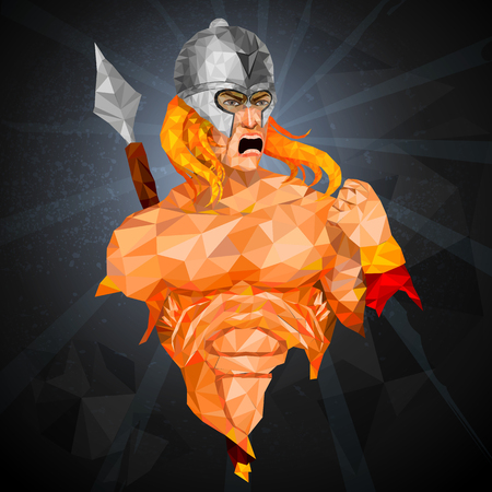 Superhero in abstract low poly polygon style  イラスト・ベクター素材