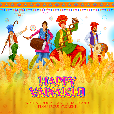illustration of Happy Vaisakhi Punjabi spring harvest festival of Sikh celebration background Vectores