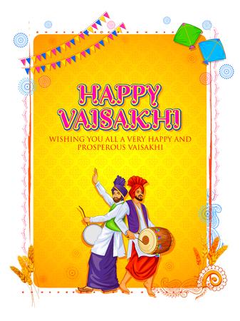 illustration of Happy Vaisakhi Punjabi spring harvest festival of Sikh celebration background Illustration