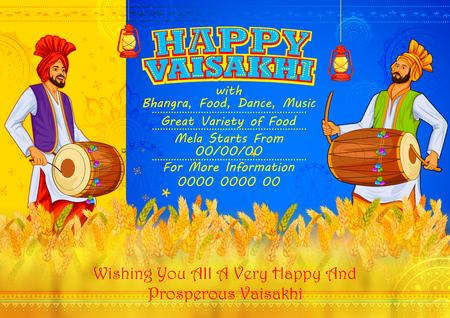 Happy Vaisakhi Punjabi spring harvest festival of Sikh celebration background Illustration