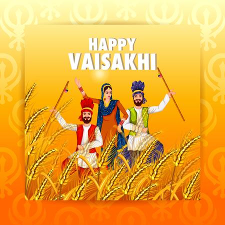 Celebration of Punjabi festival Vaisakhi background with people dancing on field.
