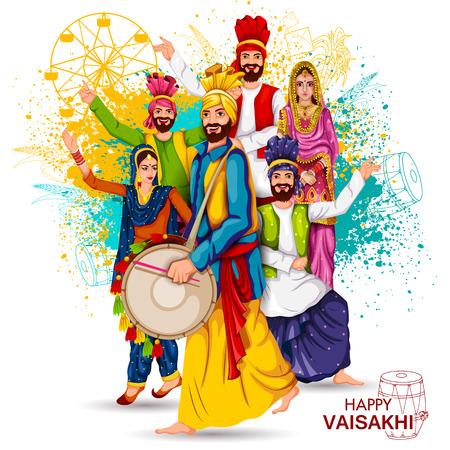 Celebration of Punjabi festival Vaisakhi background Vector illustration.