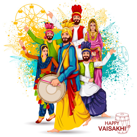 Celebration of Punjabi festival Vaisakhi background Vector illustration.