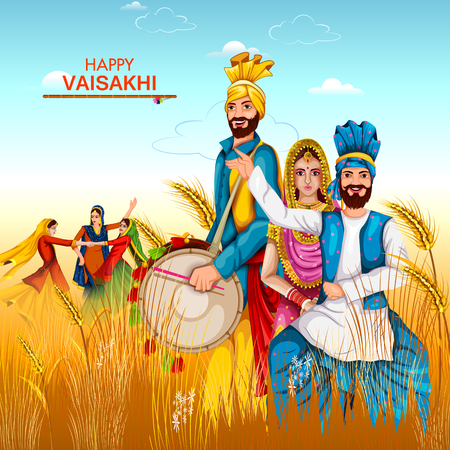 Vector illustration of celebration of Punjabi festival Vaisakhi background with people on field.