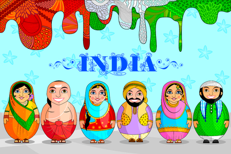 Set of nesting doll Indian couples on a blue colorful background