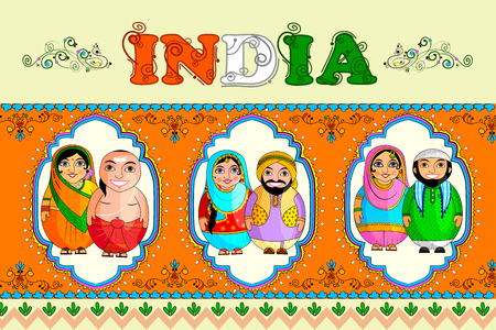 Set if nested dolls on frames on and orange background with India lettering
