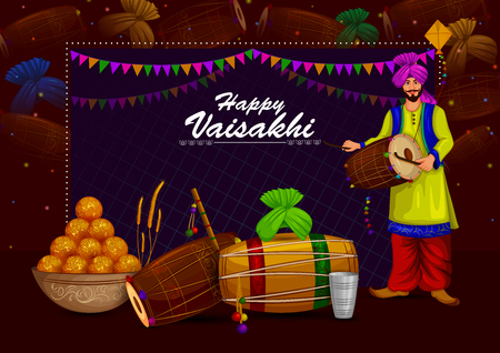 Holiday background design for New Year festival of India.