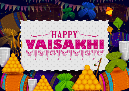 Happy Vaisakhi Punjabi religious holiday background for New Year festival of Punjab India in vector Stock Vector - 97835983