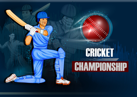 Batsman sports Player playing game of cricket in Vector illustration. Çizim
