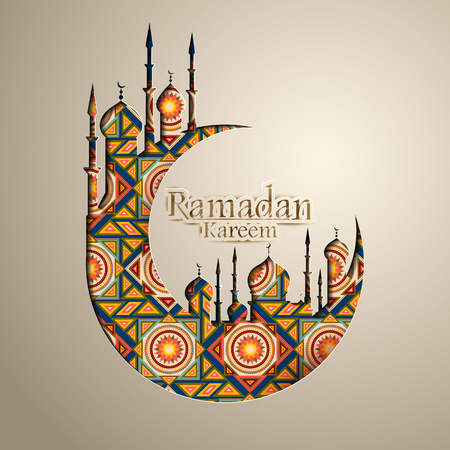 Fond de célébration islamique avec texte Ramadan Kareem