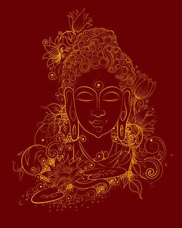 illustration of Lord Buddha in meditation for Buddhist festival of Happy Buddha Purnima Vesak Ilustracja