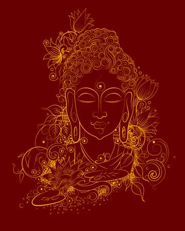 illustration of Lord Buddha in meditation for Buddhist festival of Happy Buddha Purnima Vesak Vettoriali