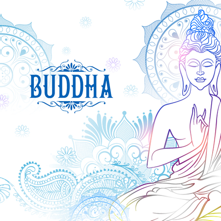 illustration of Lord Buddha in meditation for Buddhist festival of Happy Buddha Purnima Vesak Ilustração