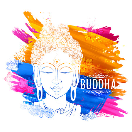 illustration of Lord Buddha in meditation for Buddhist festival of Happy Buddha Purnima Vesak Vectores