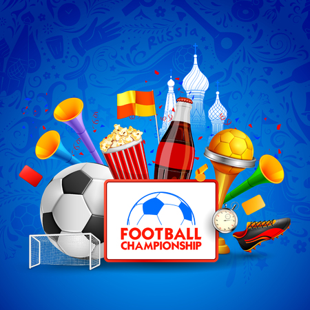 Russia Football Championship Cup soccer sports background for 2018