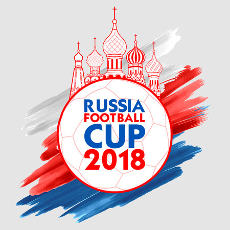 Ilustración del fondo de deportes de fútbol de la Copa del campeonato de fútbol de Rusia para 2018 Ilustración de vector