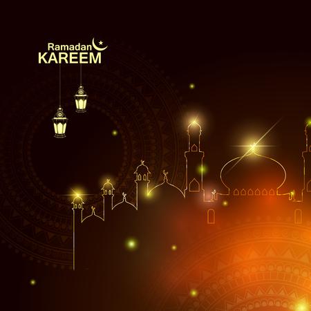 与文本ramadan kareem的伊斯兰庆祝背景