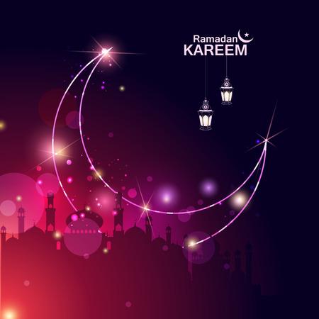 Islamic celebration background with text Ramadan Kareem