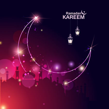 Islamic celebration background with text Ramadan Kareem