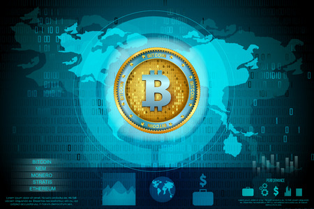 Bitcoin on hi-tech cryptocurrency digital currency with encryption techniques financial background