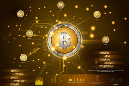 Bitcoin auf digitaler High-Tech-Kryptowährung mit finanziellem Hintergrund der Verschlüsselungstechniken